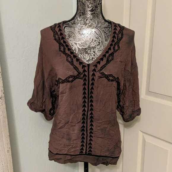 Free People Tops - Free people flowy boho embroidered brown top